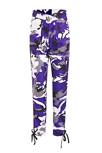 Pervobs Women's Casual Fashion Camouflage Sweatpants High Waist Sports Camouflage Pencil Trousers Pants(XL, Purple) by Pervobs Women Pants (Image #3)