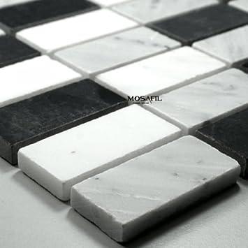 Marmor Mosaik Fliesen Schwarz Weiss Grau Mix Amazonde Baumarkt