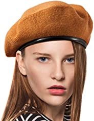 "British Military Berets for Men - Women Warm Knit Beret Hat Spring Hat Soft (Light Tan, S/M,22-7/8"",for 2"
