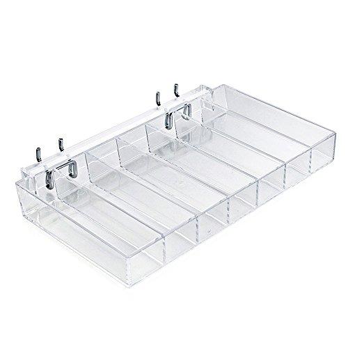 "Azar Displays 225567 10"" W x 1.5"" H x 7.5"" D 7-Compartment Nail Polish Tray (2 Pack)"
