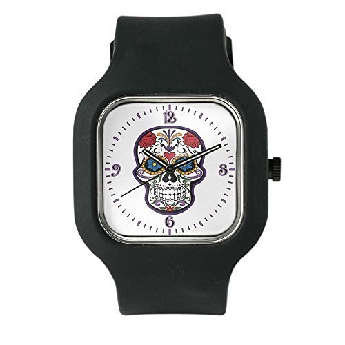 Black Fashion Sport Watch Floral Sugar Skull Day of the Dead