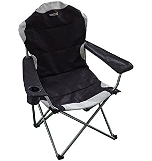 eurotrade w ltd deluxe portable folding camping deck chair grey