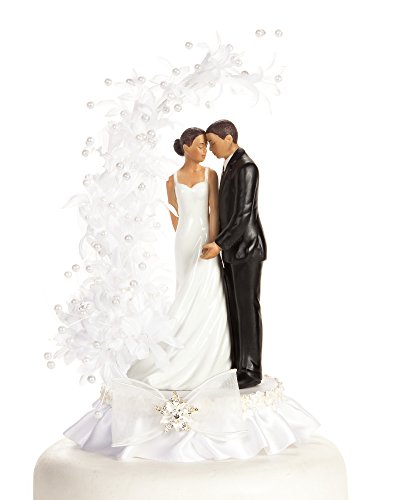 Wedding Collectibles Pearl Side Arch African American Cake Topper: Base Skirt Color: WHITE