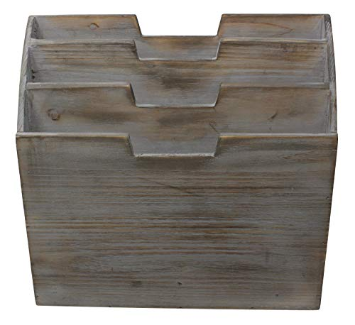 Vintage Rustic Wooden Office Desk Organizer & Vertical Paper File Holder For Desktop, Tabletop, or Counter - Distressed Torched Wood – For Mail, Envelopes, Mailing Supplies, Magazines, or File Folders by Executive Office Solutions (Image #3)'
