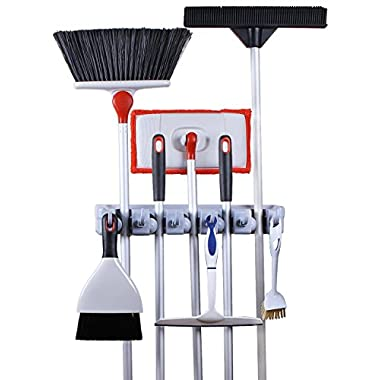 Greenco Mop and Broom Organiser, Wall and Closet Mount Organizer Rack, Holds Brooms, Mops, Rakes, Garden Equipment, Tools and More, Contains 5 Non-slip Automatically Adjustable Holders and 6 Hooks