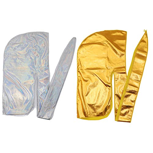 HADM Silky Durags for Men/Womens Waves Cap,Extra Long-Tail Holographic Headwraps for 360 Waves