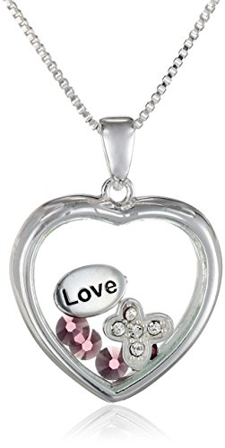 Sterling Silver Crystal 'Love' Looking Glass Heart Sentiment Necklace