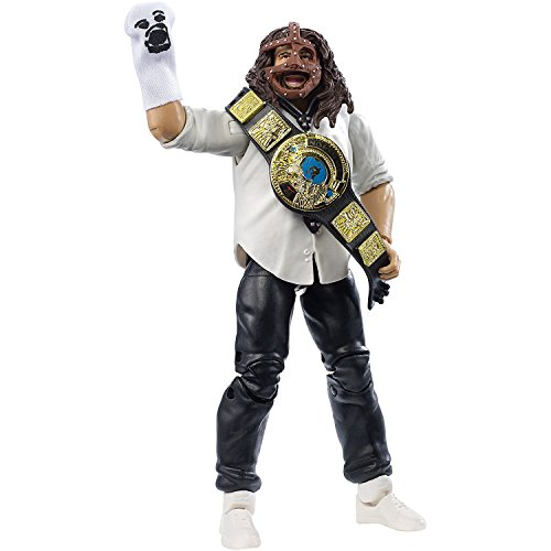 Mankind with WWE Chamionship, Mr Socko & Mask: WWE x Elite Collection Action Figure + 1 Official WWE Trading Card Bundle (DXL65) -