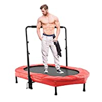 Hosmat Mini Rebounder Trampoline with Adjustable Handle for Two Kids, Parent-Child Twins Trampoline   Max. Load 220LBS (Red)