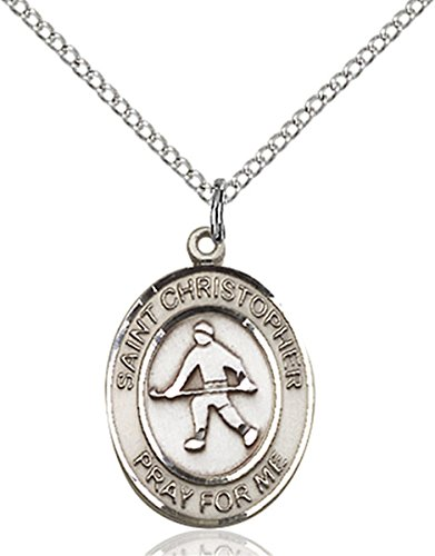 Sterling Silver Saint Christopher Field Hockey Sports Athlete Medal, 3/4 Inch