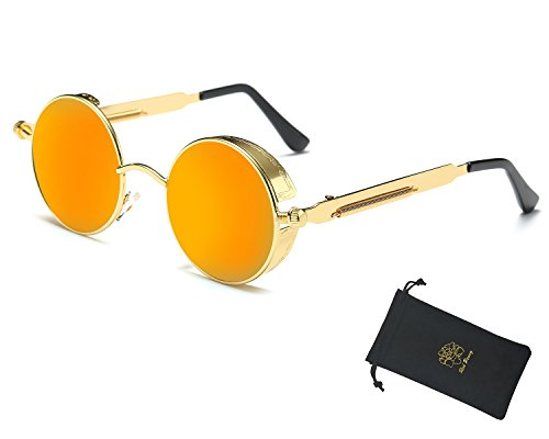 Red Peony Retro Gothic Steampunk Sunglasses for Women Men Round Metal Circle Polarized Sunglasses (Gold, - Retro Orange