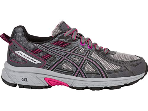 ASICS Women's Gel-Venture 6 Running-Shoes,Carbon/Black/Pink Peacock,9.5 Medium US