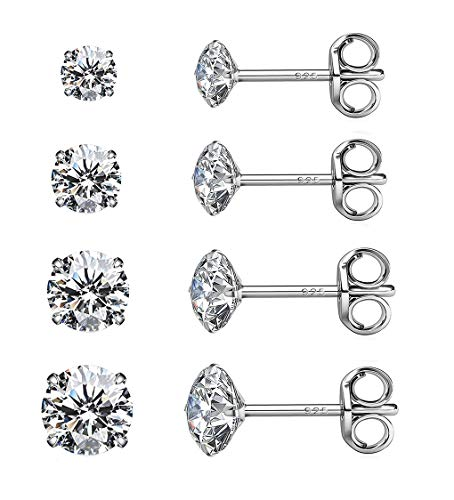 Sterling Silver Studs Earrings, 4 Pairs White Gold Plated Round Clear Brilliant Cut Cubic Zirconia Stud Earrings Set for Sensitive Ears priercing, Hypoallergenic Earrings for Women Girls