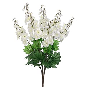 "26"" Delphinium Bush x7 Cream White (pack of 12) 44"