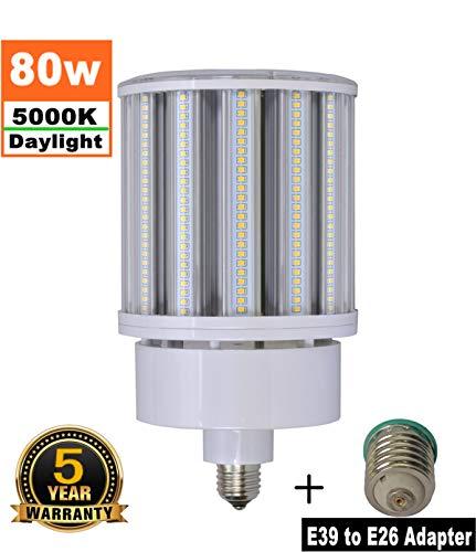 - 80W LED Corn Light Bulb Medium Base E26 & Mogul Base E39 LED Bulbs, 10000 Lumens (400W-600W Equivalent), 5000K Daylight Metal Halide Replacement for Outdoor Indoor Area Lighting HID/CFL/HPS