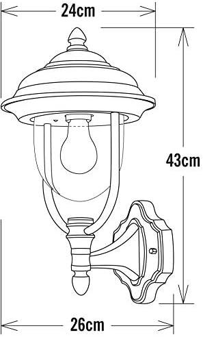 Konstsmide Parma 7223-750 Wandleuchte / B: 24cm T: 26cm H: 43cm / 1x75W / IP43 / lackiertes Aluminium / matt-schwarz