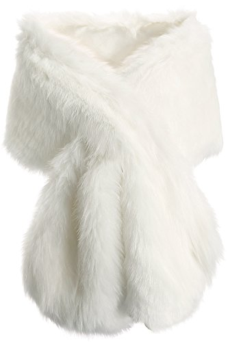 BABEYOND Womens Faux Fur Collar Shawl Faux Fur Scarf Wrap Evening Cape for Winter Coat (Off-white)]()