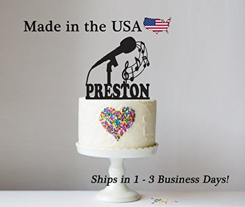 Price comparison product image Microphone Cake Topper with FREE Keepsake Base,  Music,  Treble Clef,  Musician,  Band Party,  Musical Instrument,  Personalized Cake Topper,  Marching Band