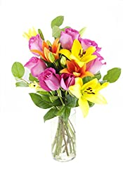 Mad for You Lilies & Roses Bouquet - With Vase