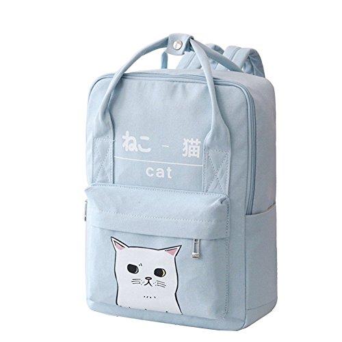 (Women Girls Japanese And Korean Style Bags Kawaii Cat Canvas School Backpack (Blue))