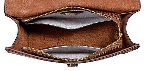 Handle Body Leather Handbag Bags Women Brown PIFUREN Satchel Top Cross HqF1B