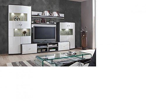 Wohnwand \'Circle 4\' Hochglanz lackiert Weiß Grau Vormontiert jetzt ...