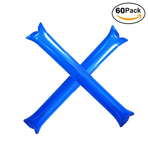 Furry Sunny Bam Bam Thunder Sticks Inflatable Cheer Sticks Blow Bar Inflatable Boom Sticks Noisemakers Stick Basketball Football Noisemakers Party Favors 60 Pack (Blue) -