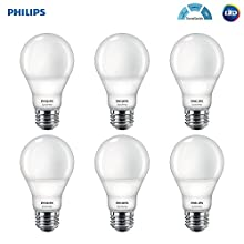 Philips LED A19 SceneSwitch Daylight 3-Setting Light Bulb: Bright/Medium/Low (60-Watt Equivalent) E26 Base, 6-Pack