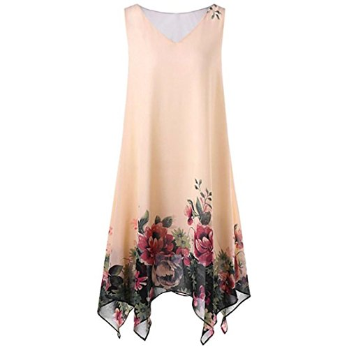 Han Shi Hot Women Plus Size Dress Floral Print Chiffon Sleeveless Irregular Sundress (Yellow, 2XL)