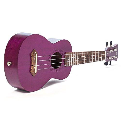 Hola! Music HM-121PP+ Deluxe Mahogany Soprano Ukulele Bundle with Aquila Strings, Padded Gig Bag, Strap and Picks - Purple - Image 3