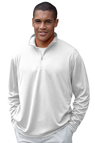 Vantage Men's Vansport Quarter-Zip Active Pullover, White, (Lightweight Thermal Pullover)