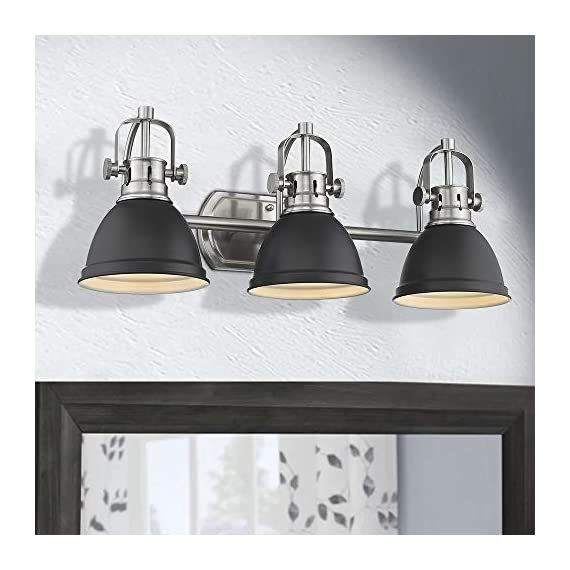 Emliviar 3-Light Bathroom Vanity Light Fixture, Black Finish with Metal Shade, 4054H-A - Upgrade version modern 3 light bath vanity light fixture features sturdy metal construction in black finish Easy installation. Includes all mounting hardware. Perfect for your bathroom, dressing table, mirror cabinets, vanity table and art display etc. Hard wired. Requires 3 x E26 base bulb(Max.60W). Bulb NOT included - bathroom-lights, bathroom-fixtures-hardware, bathroom - 418gkMgMa4L. SS570  -