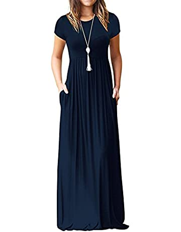 2e17504fc49eb Euovmy Women's Short Sleeve Loose Plain Maxi Dresses Casual Long Dresses  with Pockets