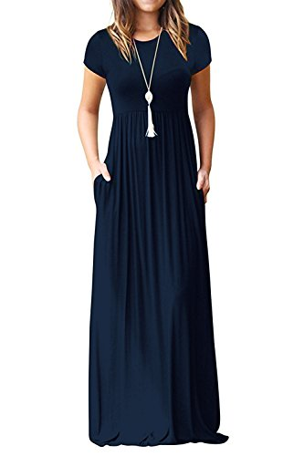 Euovmy Women's Short Sleeve Loose Plain Maxi Dresses Casual Long T-Shirt Dresses with Pockets Navy Blue XX-Large