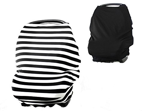 Reversible 2 covers in 1 Versatile Stretchy Multi-Use Baby Car Seat Cover Canopy, Infinity Nursing Cover, Shopping Cart Cover, High Chair Cover for Boy or Girl - Includes a Carry Bag, Gift Ready by Youngin Baby