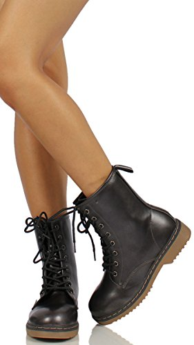Faux Ankle Combat UpPull Women's Tab Forever Alyson Smooth Boots Lace Leather OHw1U6n