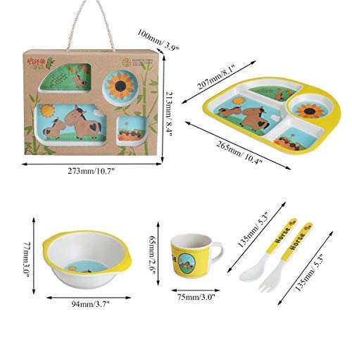 (5 Style Bamboo Fiber Colorful Kids Meal Set Feeding Tools Plate Cup Spoon Fork Kid Bowl )