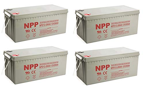 - NPP NPD12-200Ah Rechargeable AGM Deep Cycle 4D SLA 12V 200Ah Battery with Button Style Terminals (4 Pack)