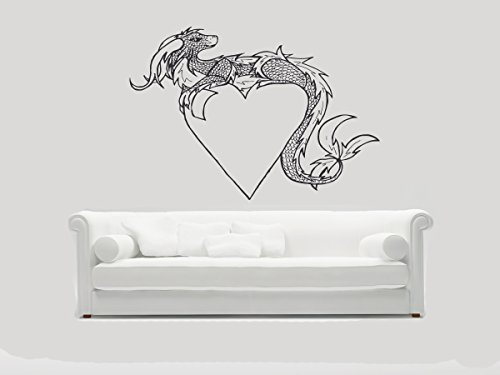 (Wall Vinyl Stickers Heart And Dragon Decals Tribal Tattoo Design Decals Home Decor Art Image DB0070)