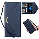 Shinyzone Stylish Envelope Design Case for Samsung Galaxy Note 9,Premium Leather Wallet Case with Credit Card Holder & Wrist Strap Handbag Magnetic Flip Cover,Blue