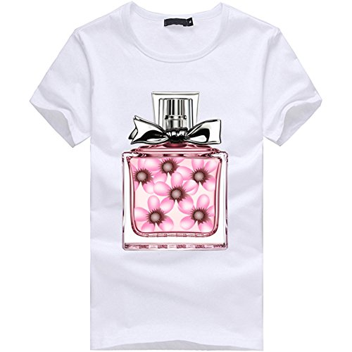 POTO Womens Short Sleeve Blouse Fashion Perfume Bottle Print T-Shirt Blouse Tops (S, White)