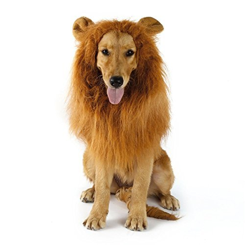 LINKIM Dog Lion Mane Costume with Ears, Pet Costume Lion Wig Hair for Large or Medium Dogs Halloween Christmas Festival Party Gift Fancy Hair(Large, Light Brown)]()