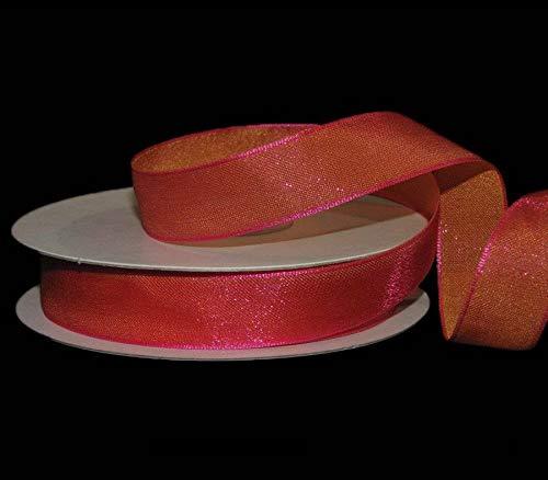Ribbon Art Craft Decoration 5 Yards Glistening Pink Orange Two Toned Mirage Shimmer Ribbon 5/8