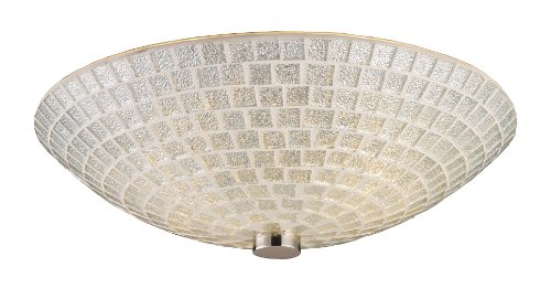 Elk 10139/2SLV Fusion 2-Light Semi-Flush In Satin Nickel with Silver Mosaic (Fusion Ceiling Light)