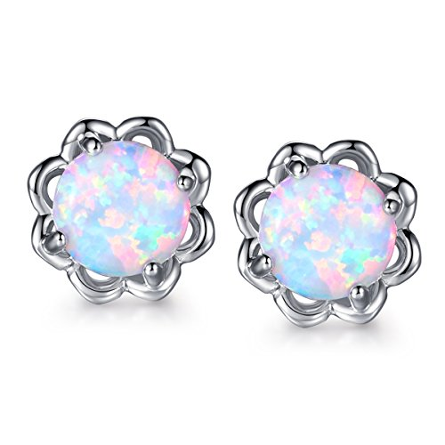 Sunflower 18K White Gold Plated White Opal Stud Earrings Cute Women Flower Birthstone Earings (White Opal Flower)