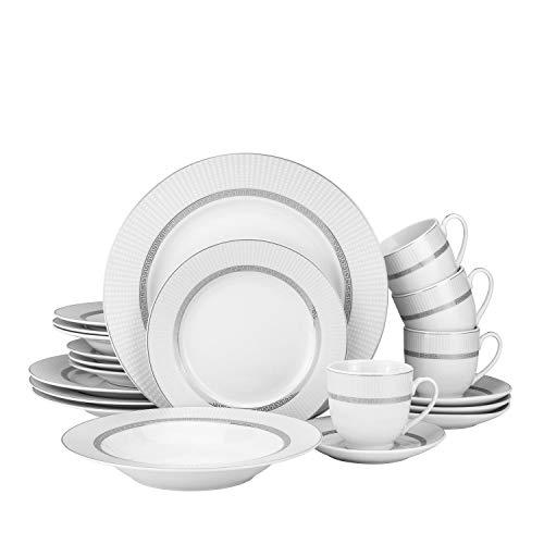 20-pc Bone China Porcelain Dinnerware Set w/Silver Rims, Super White Elegant Dinner Set, Dinner Plates, Soup Plates, Salad Plates, Tea Cups and Saucers, Set for 4