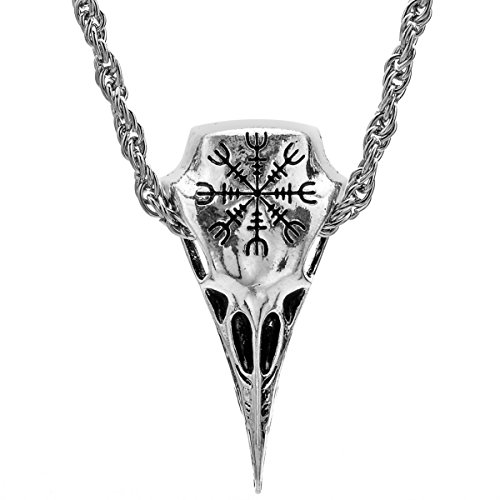 Men%27s+Necklace+Viking+Jewelry+Norse+Amulet+Helm+Of+Awe+Raven+Skull+Pendant+By+Alchemy+Gothic+Necklace+for+Women+Men+Antique+Silver%2C+0622-001NK%28FBA%29