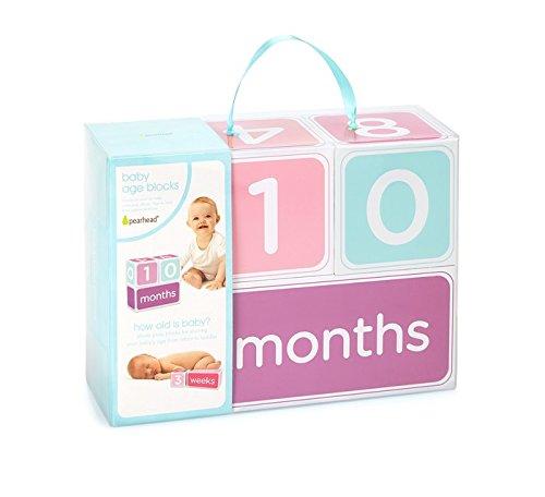 Pearhead Baby Age Photo Sharing Blocks, Pink