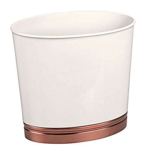 mDesign Oval Slim Decorative Plastic Small Trash Can Wastebasket, Garbage Container Bin for Bathrooms, Kitchens, Home Offices, Dorm Rooms - Vanilla/enetian Bronze Finish Base Slim Dvd Case Size