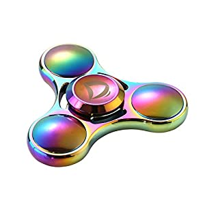Rainbow Colorful Pure Copper EDC Fast Quiet Tri Spinner Fidget Hand Finger Spinner ADHD Focus Anxiety Stress Relief Toys